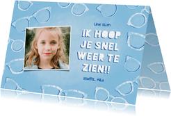 Make-A-Wish kaart met brillen, tekst en eigen foto