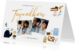 Moederdagkaart tegoedbon High Tea met foto's en illustraties
