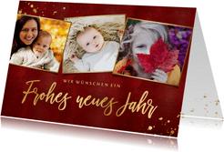 Neujahrskarte Fotocollage Rot & Gold