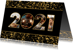Neujahrskarte gold Fotocollage 2021