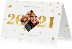 Neujahrskarte mit Jahreszahl, Foto und Sternen