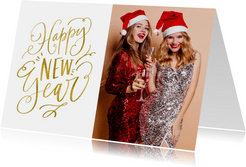 Nieuwjaarskaart Happy New Year wit met goud