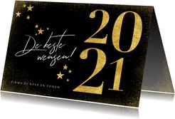 Nieuwjaarskaart in goud 2021 en sterren zwart stijlvol
