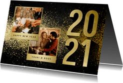 Nieuwjaarskaart met 2 foto's goudlook 2021 en spetters