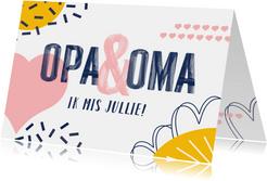 Opa en oma kaart met vrolijke vormen