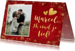 Rode valentijnskaart met gouden confetti, foto en naam