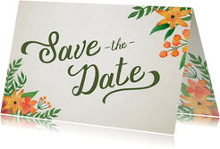 Save-the-Date-Karte Vintage Blumen