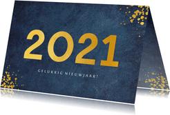 Stijlvolle blauwe zakelijke nieuwjaarskaart jaartal 2021