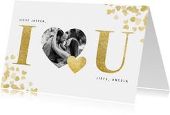Stijlvolle 'I love u' valentijnskaart met gouden hartjes