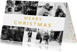Stijlvolle kerstkaart met zwart witte fotocollage