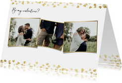 Stijlvolle valentijnskaart  met foto's en gouden hartjes