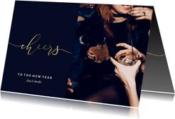 Stilvolle Neujahrskarte 'Cheers' to the new year mit Foto
