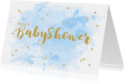 Uitnodiging babyshower aquarel hartjes lichtblauw
