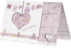 uitnodiging babyshower met hart