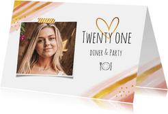 Uitnodiging etentje stijlvol goud en roze met eigen foto