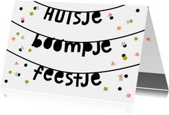 Uitnodiging huisje boompje feestje confetti