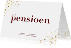 Uitnodiging met pensioen in waterverf met goud spetters