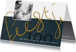 Uitnodiging 'Samen 100' geschreven tekst in goudkleur