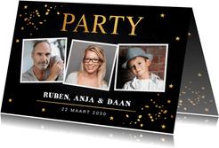 Uitnodiging verjaardag samen fotocollage goud confetti