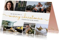 Umzugskarte zu Weihnachten mit Fotos und goldener Schrift