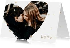 Valentijnskaart foto in hart groot met gouden hartjes