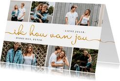 Valentijnskaart fotocollage gouden tekst