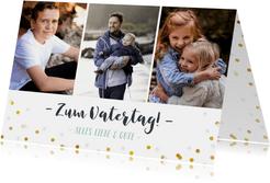 Vatertag Fotokarte drei Fotos und Konfetti