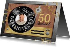 Verjaardagskaart 50 jaar retro muziek vinyl LP speler