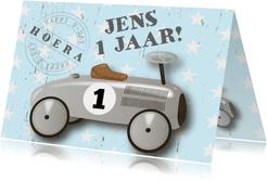 Verjaardagskaart loopauto stoer
