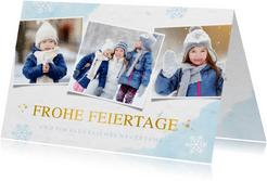 Weihnachtskarte eigene Fotos und Schneeflocken