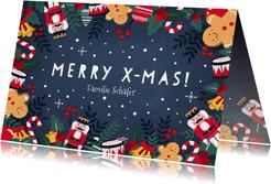 Weihnachtskarte mit weihnachtlichen Illustrationen