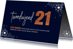 Zakelijke nieuwjaarskaart typografie 2021