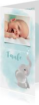 Aquarell Einladung zur Taufe mit Foto und Elefant