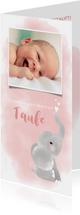 Aquarell Einladung zur Taufe rosa mit Foto und Elefant
