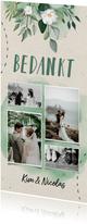 bedankkaart bruiloft botanisch fotocollage doodle
