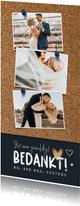 Bedankkaart bruiloft fotocollage kurk punaise hartjes