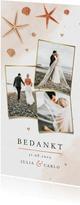 Bedankkaart bruiloft strand schelpen waterverf zeesterren