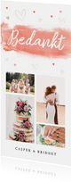 Bedankkaart langwerpig bruiloft aquarel coral pink