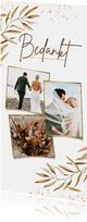 Bedankkaart trouwen goud bohemian takje foto's