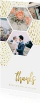 Bedankkaart zeshoek fotocollage met gouden confetti