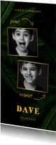 Bedankkaartje communie jungle bladeren met foto's