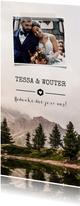 Bedankkaartje trouwen stoer met berglandschap en foto