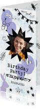 Birthday Party uitnodiging met foto, ballonnen en konijn