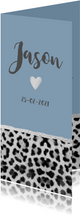 Blauw panterprint geboortekaartje langwerpig