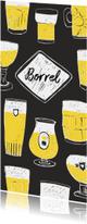 Borrel uitnodiging getekende biertjes