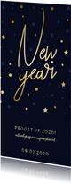 Borrel uitnodiging 'New Year' gouden sterren en confetti