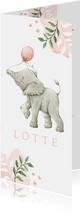 Botanisch geboortekaartje met olifantje in aquarel