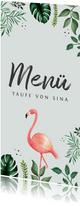 Botanische Menükarte Taufe Flamingos und Blätter