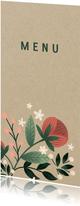 Botanische menukaart met bloemen, planten en kraftlook
