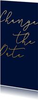 Change-the-Date-Karte Hochzeit Goldene Schrift